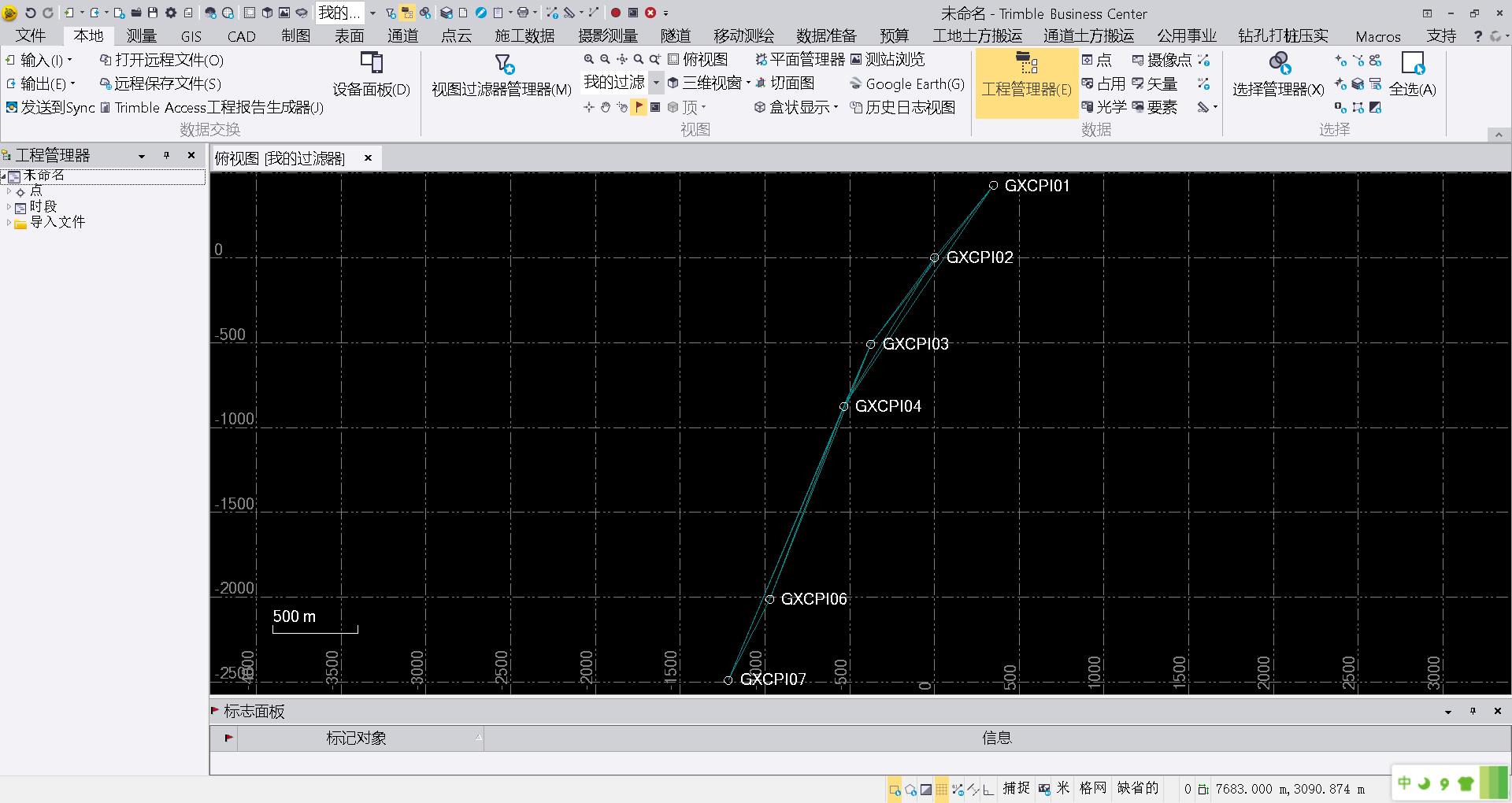 TBC软件中显示的控制网网图